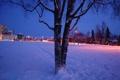 Картинка зима, снег, город, Аляска, Anchorage, Night Falls on the Park Strip