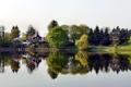 Картинка город, река, Германия, фото, Херцберг, домик