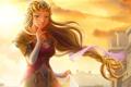 Картинка девушка, ветер, рука, арт, коса, принцесса, The Legend of Zelda