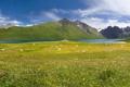 Картинка облака, небо, луг, озеро, Тибет, горы, камни