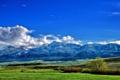 Картинка облака, долина, трава, деревья, горы, небо