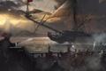 Картинка море, вода, корабль, пираты, захват, залп, сабли