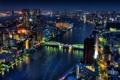 Картинка ночь, мост, огни, дома, Япония, вода.