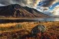 Картинка небо, горы, тучи, озеро, камень