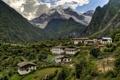 Картинка горы, скалы, деревня, Китай, домики, ущелье, Yunnan