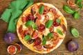 Картинка листья, еда, мясо, пицца, салфетка, инжир