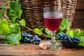 Картинка листья, вино, красное, бокал, виноград