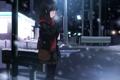 Картинка зима, дорога, девушка, снег, город, аниме, шарф