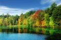 Картинка осень, лес, небо, облака, деревья, озеро
