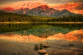 Картинка лес, небо, облака, Горы, отражения, вода, озеро