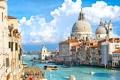 Картинка корабль, дома, катер, Италия, Венеция, канал