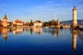 Картинка город, фото, дома, Германия, Bavaria, река Lindau