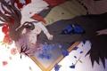 Картинка девушка, цветы, крылья, картина, аниме, лепестки, арт