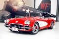 Картинка красный, тюнинг, хвост, corvette, самолёт, шевроле, диски