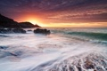 Картинка море, волны, закат, берег, маяк, Великобритания, Уэльс