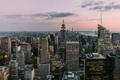 Картинка небо, облака, закат, Нью-Йорк, Манхэттен, Эмпайр-стейт-билдинг, One World Trade Center