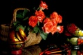Картинка розы, натюрморт, корзинка, роспись, ложки