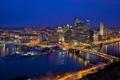 Картинка США, USA, Pittsburgh, Питтсбург, вечер, naght, огни