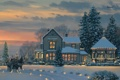 Картинка Новый год, дом, герлянды, украшения, елки, снег, клаус