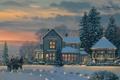 Картинка зима, дорога, снег, украшения, огни, дом, самолет