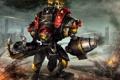 Картинка выхлоп, Робот, пушка, пули, взрывы, броня, колючая проволока