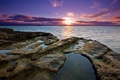 Картинка море, небо, солнце, облака, закат, камни