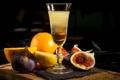 Картинка бокал, апельсин, коктейль, инжир