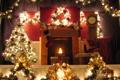 Картинка украшения, огни, комната, праздник, елка, новый год, камин