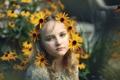 Картинка взгляд, цветы, настроение, портрет, красота, девочка