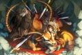 Картинка орел, кровь, олень, девочка, мечи
