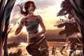 Картинка девушка, брюнетка, Tomb Raider, бежит, Расхитительница гробниц
