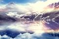 Картинка облака, снег, горы, озеро