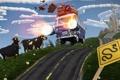 Картинка коровы, небо, вещи, турбо, город, дорога, Фургон