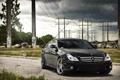 Картинка Mercedes, высоковольтные столбы, небо, мерседес, black, чёрный, тучи