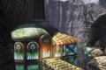 Картинка вода, мост, дом, скалы, витраж, myst 3, exile