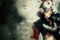 Картинка девушка, перья, иероглифы, азиатка, риунок