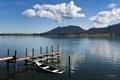 Картинка облака, горы, озеро, лодка