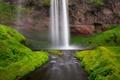 Картинка трава, скала, река, ручей, водопад