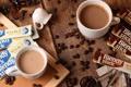 Картинка кофе, кофейные зерна, ложки, кувшинчик