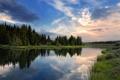 Картинка природа, лес, река, небо