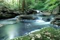 Картинка лес, река, камни, водопад, Природа