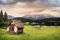 Картинка пейзаж, горы, дом, долина