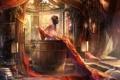 Картинка Девушка, свечи, купание, татуировка, бочка
