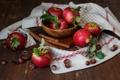 Картинка полотенце, корица, яблоки, орехи