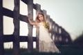 Картинка цветы, забор, девочка