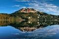 Картинка небо, вода, отражения, озеро, река, скалы, гора