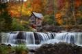 Картинка осень, лес, деревья, дом, река, колесо, мельница