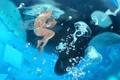 Картинка девушка, рыбки, пузыри, арт, медузы, бикини, vocaloid