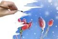 Картинка иней, снег, ягоды, рука, кисть