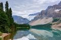 Картинка деревья, горы, отражение, снег, озеро